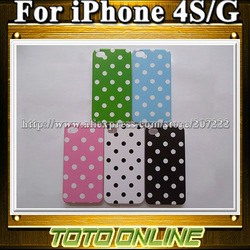 50pcs/lot Cute dots Cheap Hard Phone Cases for Iphone 4 4s freeshipping(China (Mainland))