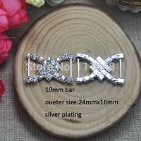 (S0046)100pcs/lot, 10mm inner bar rhinestone buckle for wedding invitation card,silver or light rose gold plating