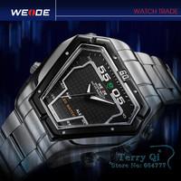 Triangle Dial LED Dual Display Sport Wrist Watch Quartz Watches Free Ship