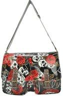 Free shipping Wholesale and retail guaranteed 100%  fashion floral Skulls designed handbag ladies bag women bag QQ1361-B-BLACK