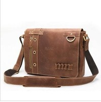 Free shipping ,hot sell Genuine Leather backpack Fashion men's brifecase, shoulder/Messenger bag ,Zipper,black/brown