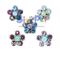 Free Shipping!MOQ 24pcs can mix  5 colors,10mm rhinestones flower sliders, DIY pet letters personalized pet collar charm