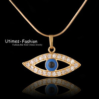 Evil Eye Pendant Necklace with Free Matching Chain 18k Gold Plated