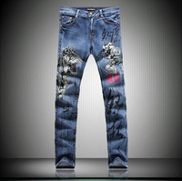 2014 Top Men's Print Jeans Colored Drawing Jeans Trousers New Style Slim Fit Painted Distinctive Jeans Autumn Free shipping
