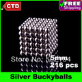 Free Shipping Silver BuckyBalls Magnetic Ball Neo Cube Funny Magnet Ball Neodymiums Novelty NEOCUBE - 216 Nickel 5mm Diameter