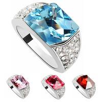Korean Fashion Bridal Wedding EngagEment Rings Austria Crystal Platinum Plated Ring For Women 316