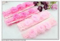 24 pcs per lot cute handmade yarn rose baby girls infant hair ties & elastic baby fabric flower headband H5018 Fashion