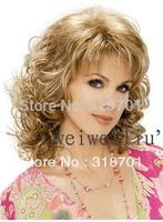 New Classic hair, Blonde mix Fashion Lady wig Medium length High-quality,Free shipping