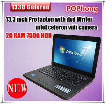 ultrabook 13.3 inch 2G/750G intel celeron 1037u 1.8Ghz laptop computer with DVD writer