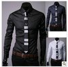 New Men Slim Fit Silk Sleeve&amp;Collar Stylish Shirts South Korea long sleeve Dress Shirts,5912 drop shiping