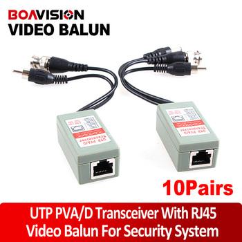 10 Pairs Twisted Pair Camera Video Audio Power Balun UTP CAT5 Transceiver