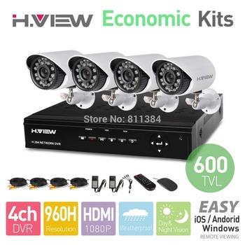 4CH 960H HDMI DVR 4PCS 600TVL IR Outdoor Weatherproof CCTV Camera 24 LEDs Home Security System Surveillance Kits