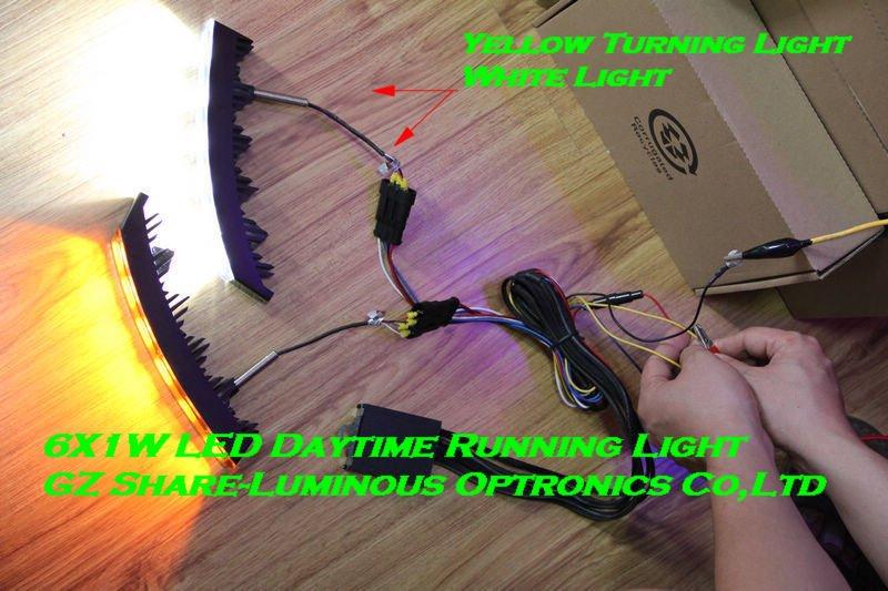 Yellow Turning Light 6x1W LED Daytime Running Light/DRL for 2011 TOYOTA LAND CRUISER FJ200 Free HKPAM(China (Mainland))