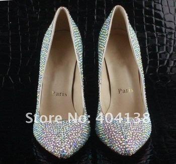 10cm Heel Diamond Crystal jewel hight heel women shoes, Pumps, Daffodil heel Pointed Toe shoes