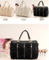 Free Shipping Double Handles Women's Bag PU & Lace Montage Studded Barrel Satchels Crossbody Evening Bags Hobos CX1107