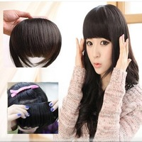 free shipping 100% high quality remy human hair extension clips in bang hair  ,natural black