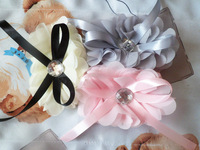 wholesale(60pcs/9colors) artificial girl and baby flowers hair flower with bow girl chiffon hair accessories acrylic diamond