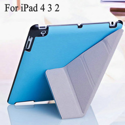 Hot Sale 4 Shapes Leather Case for ipad 3/4/2 Smart Cover with Stand Magnetic slim, Anti-skid Rubber+ utrathin design + 7 colors(China (Mainland))