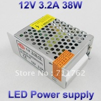 12V 3.2A 38W Switching led Power Supply,100~120V/200~240V AC input 12V DC output for led strips free shipping
