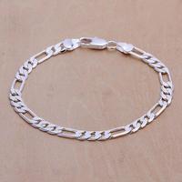 """FSH219 Men's 925 Silver Bracelet Figaro Chain Bracelets 6mm 8"""" Wholesale Fashion 925 Sterling Silver Jewelry"""