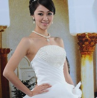 Recommended Best Selling!High Qulity Beading Venetian Pearl Strapless Floor-length Elegant Organza Bridal Wedding Dresses HS-05