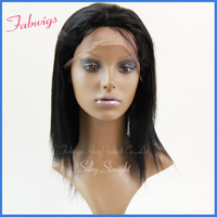"DHL Freeshipping!Cheap Indian Remy Hair Lace Front Wig 10-20"" Silky Straight #1B Glueless Half Wig Alibaba express 5A wholesale"