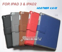 For iPad 3/iPad 2 Stand Leather Case Cover Pouch Sleep&Wake up function 5 Colors