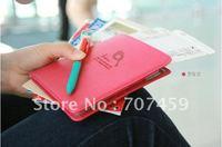 Free Shipping! 50pcs/lot New Korea Style Leather Travel Passport Credit ID Card Cash Holder Organizer Wallet Purse Case Bag