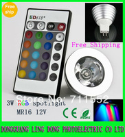 10PCS/lot 16 Colors MR16 3W 4W RGB LED lamp Bulb Light spotlight & IR Remote Control 12V (more than 3Lot is Wholesale