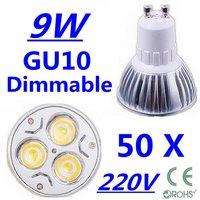 50X High power CREE GU10 3x3W 9W 220V Dimmable Light lamp Bulb LED Downlight  Led Bulb Warm/Pure/Cool White