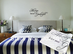[funlife]-Modern Wall Sticker-22&quot;x11&quot; piece Always Kiss me Goodnight Vinyl Art Mural Wall Quote Saying decals(China (Mainland))