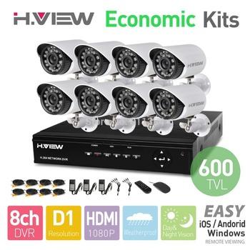 H.View 8CH CCTV System D1 HDMI DVR 8 600TVL IR Outdoor Weatherproof CCTV Camera 24 LEDs Home Security System Surveillance Kits