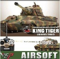 Free Shipping Vstank Pro 1/24 kingtiger rc toy tank shoot BB bullets airsoft version,or infrared optional(China (Mainland))