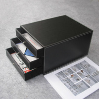 3-drawer 3-layer wood leather desk filing cabinet file/document holder organizer storage box black A008