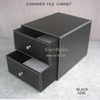 2-drawer/double layer leather office filing cabinet desk file organizer holder storage box  A286