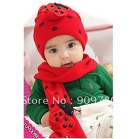 Free shipping 100%cottonBaby  hat and scarf set  Knitted hat  baby hat +scarf  two sets three colors red/navy blue/blue
