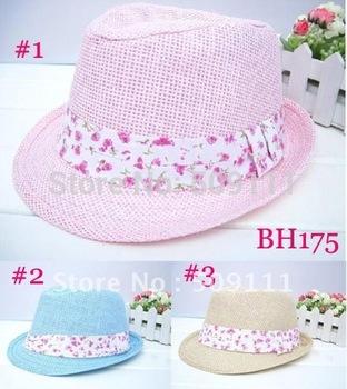Children summer fedora hat Baby strawhat Child's sun cap Kids Girls top hat Dicer Fedoras Straw sun hat 10pcs BH175