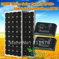 100W solar panel kit total 200W including 2 x MONO 100W solar panel+2 x 10A solar charging controller for 12V or 24V car battery