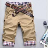2014 Free shipping summer winter low waist two buckle pocket design pants Korea slim top fashion men's seven  5 color Plus-size