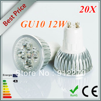 Wholesale - 20pcs/lot  GU10 Dimmable 85-265V 4x3W 12W 600LM High Power Energy Saving LED Light LED Spotlight LED Downlight