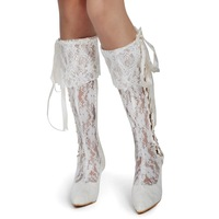 "Elegant White Ivory Cutouts Lace Wedding Boots Pointed Toe High Heel Boots Lace Up Ribbon 2.5"" Bridal Shoes"