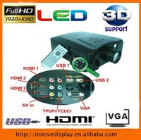hd  ready led video projector led lamp 2000lumens dynamic 1000:1 with3 HDMI 2USB Free shipping