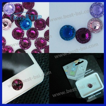 Free Shipping 20Sets/LOT Beautiful Crystal Home Button Sticker for iphone + Retail Package - 10 Colors, accept mixed order