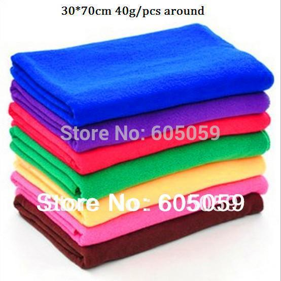 Select Colors 10pcs/lot 36g/pcs 30*70cm Salon Microfiber Towels Bathroom Absorbent Car Towels Wholesale ut013 pt8(China (Mainland))