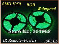 30pcs New 5M/roll 5050 SMD/150leds Waterproof RGB LED Light Strip+IR Remote+Powers