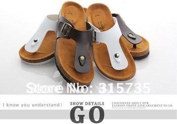 2013 New Arrival! Lovers beach shoes, BOKEN cork slippers, Summer style,Flip Flops
