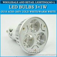 Wholesale 200pcs/lot High power led Bulb Lamp led Spotlight Bulbs GU10 3W Warm White/Cold white AC85-265V Free Shipping