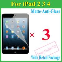 Matte Anti-Glare Anti Glare Screen Protector Protection Guard Film For iPad 2 3 4/iPad2/iPad3/iPad4/The New iPad,W Package+3pcs