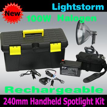 2012 Lightstorm~ ,Cheap shipping ,100w 240mm/9'' halogen torchlight,handheld spotlight,outdoor light camping fishing