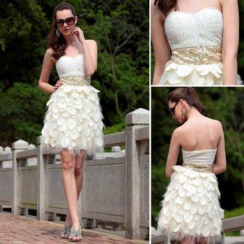 Dorisqueen 6031 cheap ready to wear 2015hot  sale Free shipping white ruffles sweetheart open back sexy beige short prom dresses